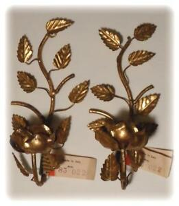 Vtg Art Italian Tole Roses Candle Sconces Florentine Gold Pair Wall Candelabra