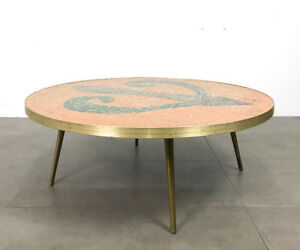 Vintage Round Mosaic Tile Brass Coffee Cocktail Table Mid Century Modern Italian