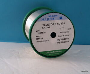 0 75kg 0 75mm Lead Free Solder Wire 3 Silver Telecore Xl 825 Sac305 Alpha Uk
