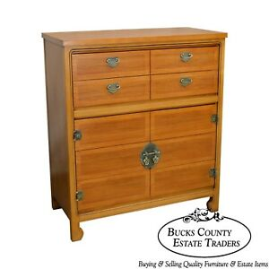 Mid Century Modern Light Walnut Tall Chest By United Furniture Corp