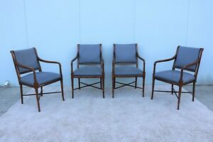 18th C Design Southwood Furniture Vintage Mahogany Armchairs Set Of 4