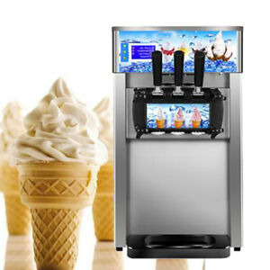 Commercial Soft Serve Ice Cream Machine Frozen Yogurt Cool 3flavor Mixed Taste