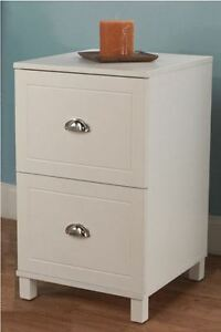 Wooden Filing Cabinet White 2 Drawer Home Office Document File Storage Organizer