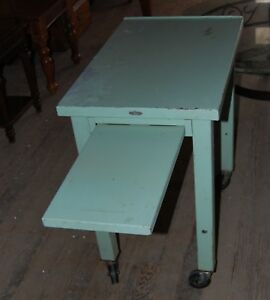Vintage Remington Rand Industrial Metal Typewriter Desk Cart Wheeled Table Stand