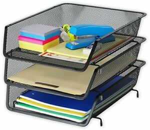 3 Pack Stackable Desk File Document Letter Tray Organizer Black Drawer Office