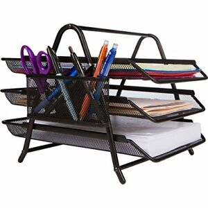 3 Tier Letter Tray Organizer Desktop Document Paper File Black Desk Drawer