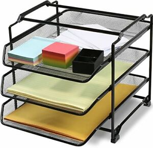 Decobros Stackable 3 Tier Desk Document Letter Tray Organizer Black Drawer