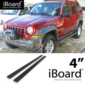 Running Board Side Step Nerf Bars 4in Silver Fit Jeep Liberty 02 07