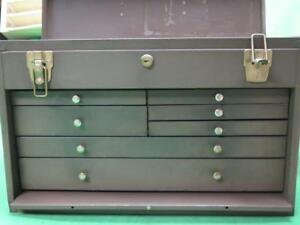 Vintage 7 Drawer Machinist Chest Toolbox Cabinet Park Mfg Tool Tooling Storage