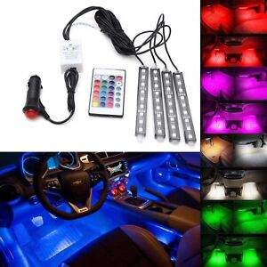 4x 5050smd 9 Led Rgb Car Strip Light Interior Decorative Colorful Remote Control