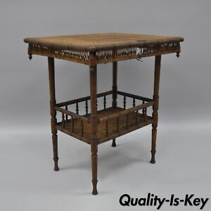 Antique Victorian Wicker Oak Wood 2 Tier Hall Table Plant Stand Fern Spindle