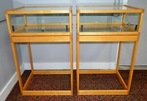 Pair Of Custom Made Pedestal Glass Jewelry Case Display Show Cases