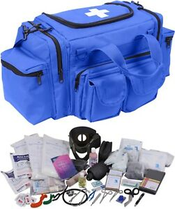 Blue 200 Pcs Emergency Medical Trauma Kit Carry Bag First Aid Supplies Emt Ems
