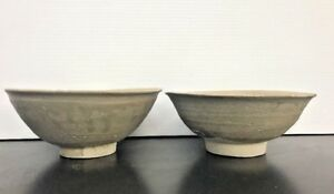 Antique Pair Chinese Shipwreck Glazed Ceramic Pottery Bowls