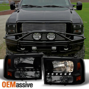 Fit 99 04 Ford F250 F350 Sd Excursion Black Smoke 1pc Led Headlights Corner Lamp