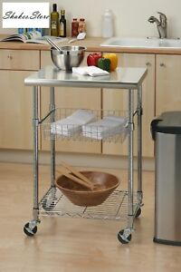 Cart Cutting Table Stainless Steel Professional Kitchen Rolling Island Shelf
