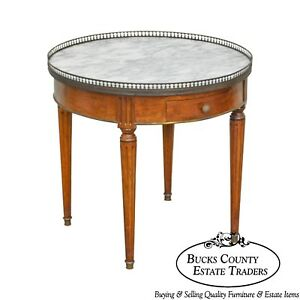 Bloomingdales Italian Walnut Louis Xvi Style Round Marble Top Bouillotte Table