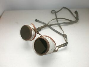 Original Antique Vintage Metal Industrial Welding Glasses Motorcycle aviator 2