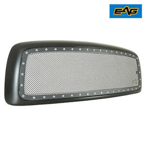02 05 Dodge Ram Grill Rivet Stud Black Stainless Steel Wire Mesh Grille W shell