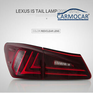 Pair For Lexus Is250 Is350 Is F 06 12 Tail Lights Led Red Lens Rear Lamp Fit