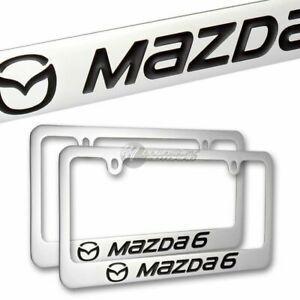 X2 Mazda Mazda 6 Chrome Plated Brass License Plate Frame Hand Painted Engraved