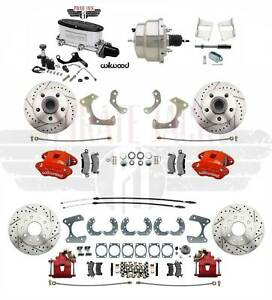 1958 68 Impala Front Rear Disc Brake Kit Wilwood Calipers Chrome Booster