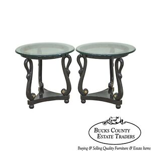 Hollywood Regency Pair Of Ebonized Black Swan Carved Round Glass Top Side Tables
