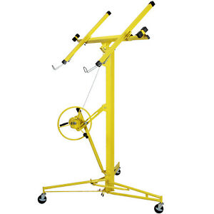 16 19 Drywall Panel Lifter Hoist Jack Rolling Caster Lockable Diy Tool Yellow
