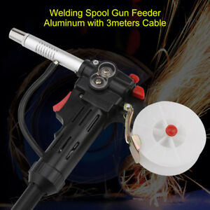 1pc Welding Spool Gun Feeder Aluminum With 3meters Cable 4 core Plug Black Gd