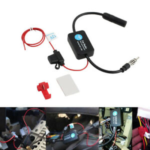 Universal 12v Fm Am Car Signal Booster Amplifier Stereo Radio Inline Antenna Us