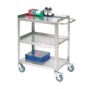 Stainless Steel Utility Cart 400 Lb Cap 24 l X 16 1 4 w X 33 h