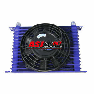 15 Row 10an Universal Engine Transmission Oil Cooler 7 Electric Fan Kit Int