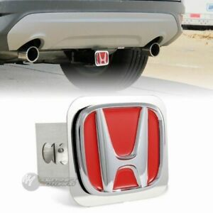 Red Honda Polished Stainless Steel Hitch Cover Cap For 2 Trailer Tow Receiver
