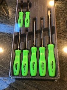 New Snap On Green Sddz70ag 7 Pc Screwdriver Set