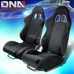Pair Of Black Suede Reclinable Racing Seat seats W Red Stitch mounting Sliders