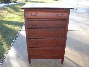 Antique Oak High Boy 5 Drawer Dresser On Casters All Original