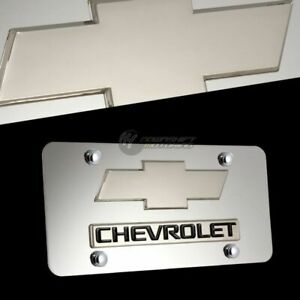 3d Chevrolet Logo Front Mirror Stainless Steel License Plate Frame Chevy W Caps