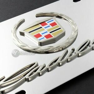Cadillac Wreath Logo Front License Plate Frame 3d Mirror Stainless Steel W Caps