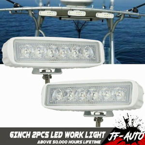 2x Single Row 6inch Cree Led Work Light Bar Flood Offroad Driving 4wd Truck