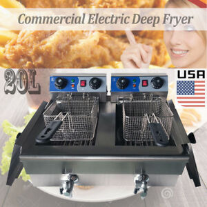 Hot Selling Dual Tank 20l Stainless Steel Commercial Electric Deep Fryer Cooker