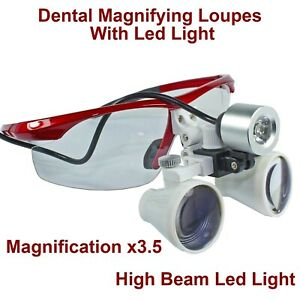 Dental Surgical Magnifying Glasses Binocular Loupes X3 5 Led Light Lamp Beam