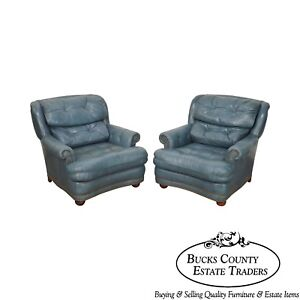 Classic Leather Pair Of Blue Tufted Club Chairs