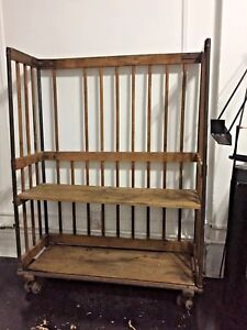 Antique 1900s Industrial Rack Shelf Shoe Hutch Factory Vintage Cart