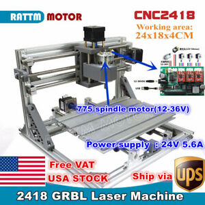 usa 3 Axis 2418 Cnc Mini Diy Laser Machine Grbl Control Pcb Milling Wood Router