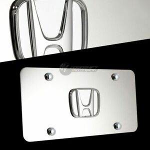 3d Honda Front Mirror Stainless Steel License Plate Frame Civic Accord W Caps
