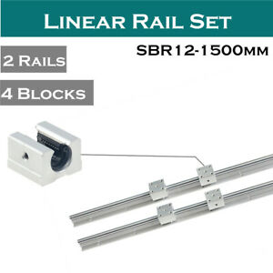 2pcs Sbr12 1500 Linear Rail Shaft Rod L1500mm 4pcs Sbr12uu Block For Cnc
