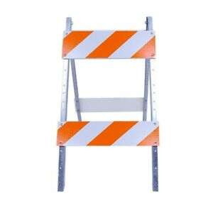 Traffic Street Barricade Wood Metal Safety Road Sign Stand Reflective 8 X 24