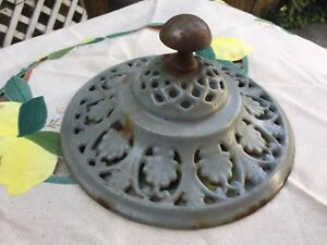 Antique Cast Iron Green Enamel Stove Topper Finial Maybe Garden Urn Lid Cover