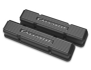 Chevrolet Sbc Black Valve Covers Finned Chevrolet Script Aluminum 283 327 350