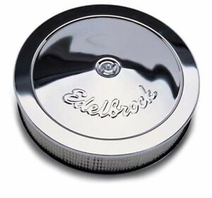 Edelbrock 1221 Chrome Air Filter Assembly 14 X 3 Tall 5 1 8 Mounting